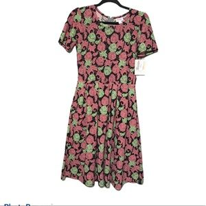 Amelia Dress Floral Green and Pink New D118